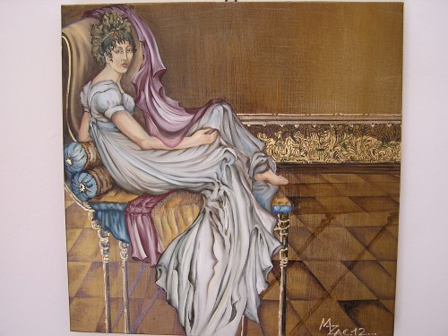 ispirato a Jacques-Louis David. Olio, bitume e oro 60 x 60