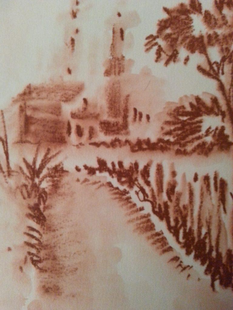 paesaggio a sanguigna su foglio bagnato: serie di Mail Art